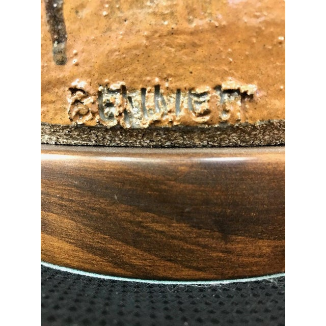 Signed Brent Bennett Glazed Stoneware and Walnut Table Lamp, 1960s For Sale - Image 11 of 13