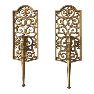 Syroco Gilded Scrolling Candleholder Sconces - A Pair For Sale