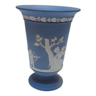 1960s Wedgewood Blue Jasperware Cupid Vase For Sale