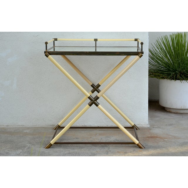 Modern Chic Mirrored and Patinated Brass Bar Cart by Maison Jansen For Sale - Image 3 of 9