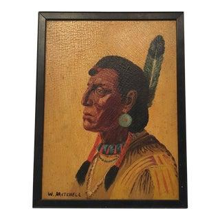 1960s Vintage W. Mitchell Sioux Warrior Portrait Painting