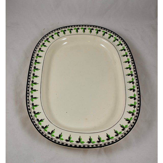 """English Traditional Josiah Spode 21"""" Creamware Hand Painted Fern & Dot Platter, 1785 For Sale - Image 3 of 13"""