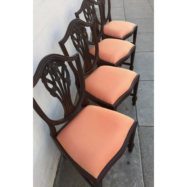 Antique Hepplewhite Mahogany Shield Back Chairs Prince of Wales Plumes -  Set of Four For Sale - Antique Hepplewhite Mahogany Shield Back Chairs Prince Of Wales