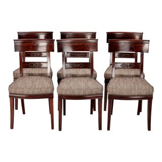 Set of Six French First Empire Dining Chairs For Sale