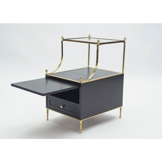 Black Rare Pair of French Maison Charles Brass Mirrored End Tables 1950s For Sale - Image 8 of 13