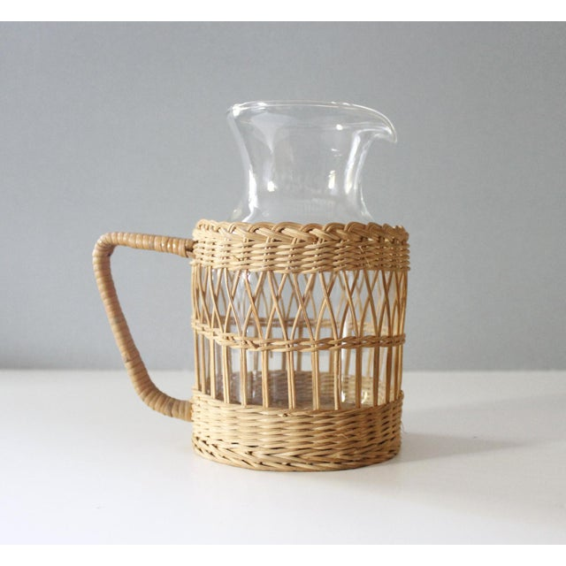 Boho Chic Vintage Wicker & Glass Serving Pitcher and Cups Set of 7 Mid Century Boho For Sale - Image 3 of 9