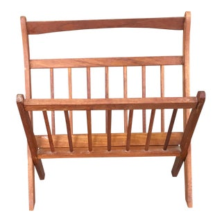 Mid-Century Modern Wood Magazine Rack For Sale