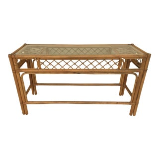 Vintage Mid - Century Chinoiserie Bamboo and Wicker Console Entryway Table For Sale