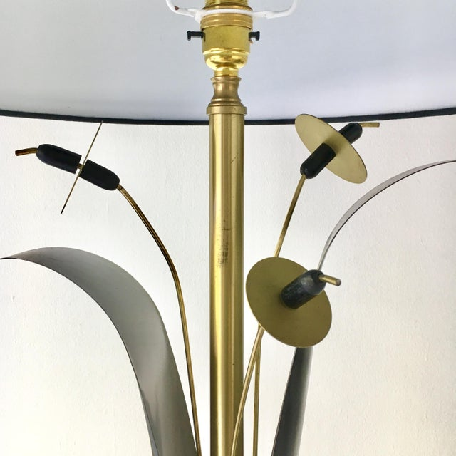 A Single Black and Gold Patinated Metal Sculptural Reed Table Lamp 1970sFully rewired by Talisman and includes custom made...