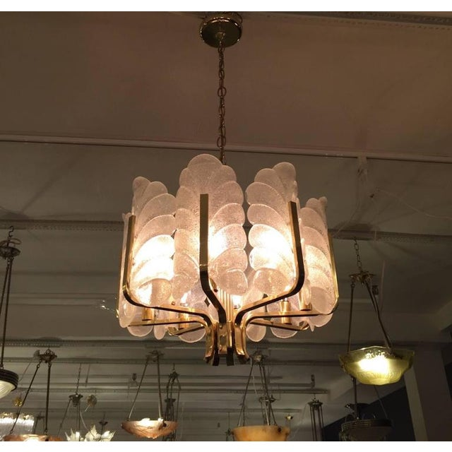 1950s Orrefors Carl Fagerlund Glass Leaves Brass Chandelier For Sale - Image 9 of 9