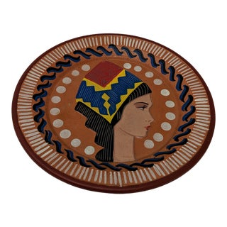 1960s Italian Sardinian Terra Cotta Decorative Plate For Sale