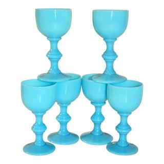 Blue Opaline Portieux Vallerysthal Liqueur Glasses - Set of 6 For Sale