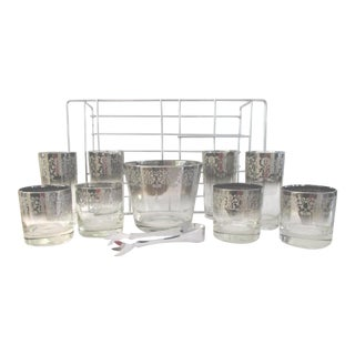 Mid-Century Vitreon Queen Lusterware Bar Set, 11 Pcs For Sale