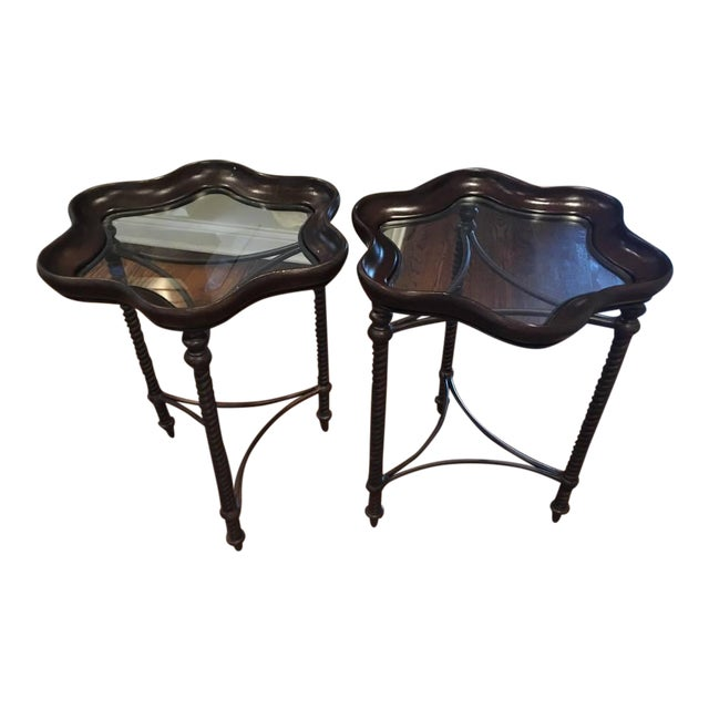 Metal resin accent tables a pair chairish for Table induction 71 x 52