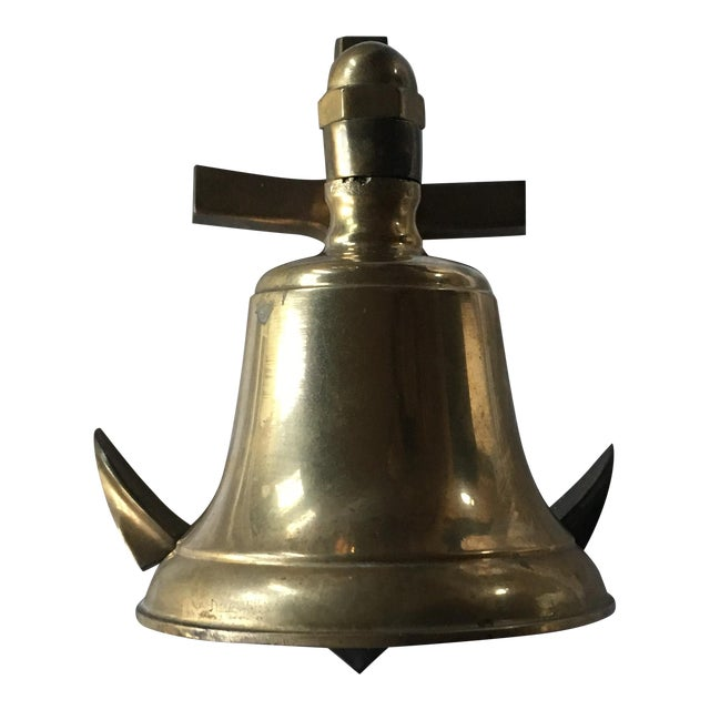 Vintage Brass Nautical Bell on an Anchor With String - Image 1 of 6