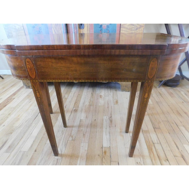 English Antique Demi-Lune Mahogany Marquetry Extension Dining Table For Sale - Image 3 of 11