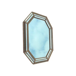 LeBarge Italian Hexagon Faux Bamboo Gilded Wall Mirror For Sale
