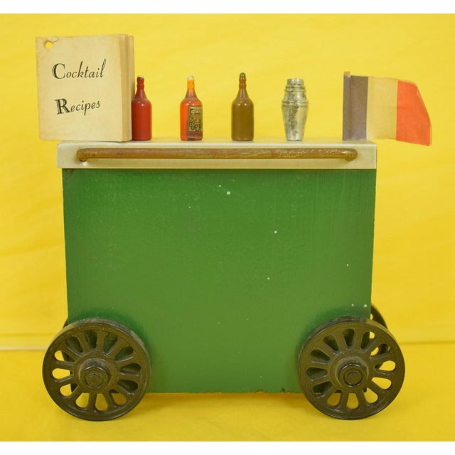 Green Wonder Bar Cart with Cocktail Recipes Booklet & 5 Cocktail Picks For Sale - Image 8 of 8
