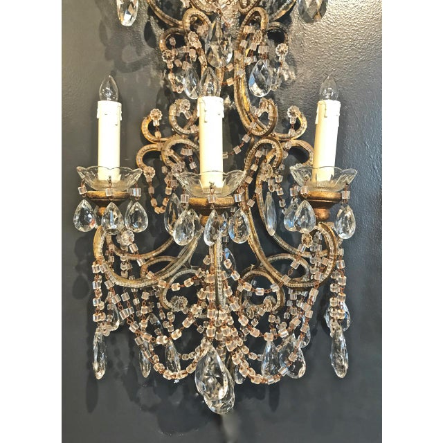 Boho Chic Pair Italian Beaded Sconces, C. 1950s For Sale - Image 3 of 7