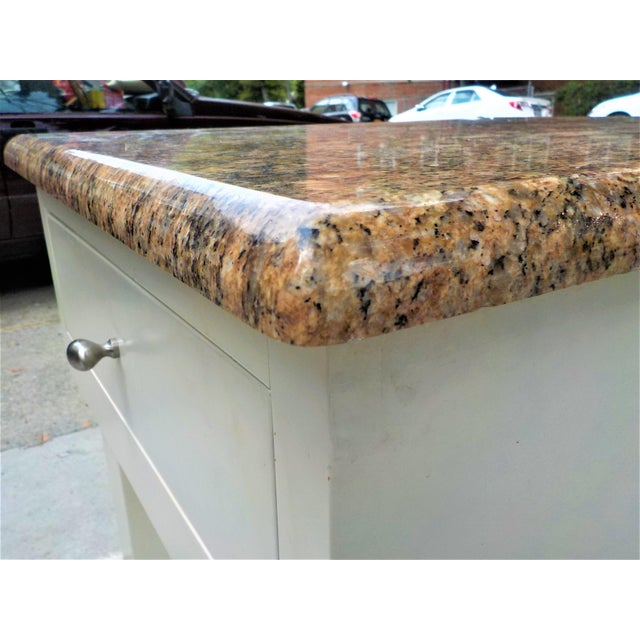 2010s Food Preparation Work Table With Granite Top For Sale - Image 5 of 13