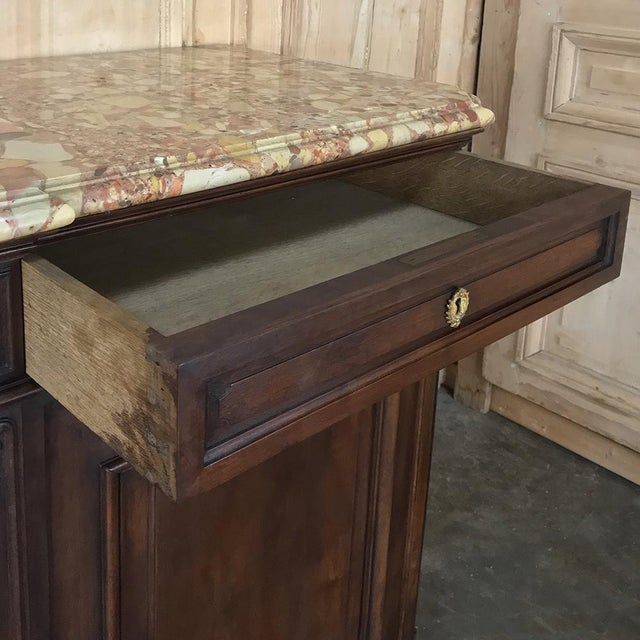 Gold Pair 19th Century French Walnut Louis XIV Marble Top Buffets For Sale - Image 8 of 13