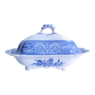 Early 20th Century Spode Camilla Blue and White Covered Serving Dish For Sale