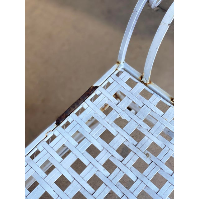 White Vintage Victorian White Wrought Iron Sculpted Patio Garden Bench For Sale - Image 8 of 12