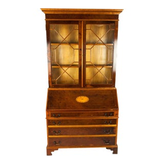 Antique Mahogany Two Pc. Desk Front Hutch or Cabinet For Sale