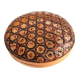 Vintage Circular Lidded Basket Box For Sale