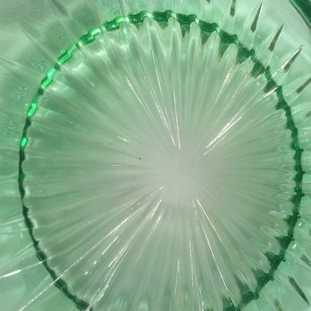 Glass Green Pressed Glass Plate with Sterling Silver Overlay For Sale - Image 7 of 7
