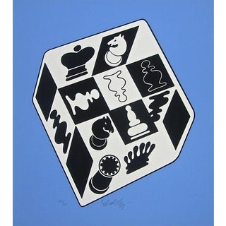 Victor Vasarely Chess Blue 1982 For Sale