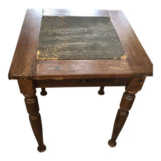 Ship Captain's Nautical Pine Spring Legs Table W/ Pull Out Surface For Sale