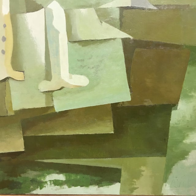 Mid-Century Green & Tan Cubist Oil Painting - Image 6 of 9