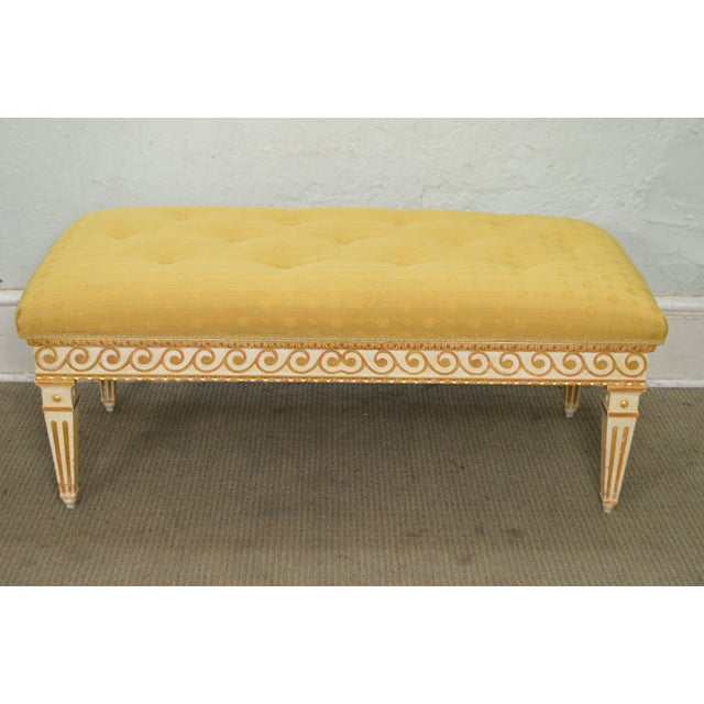 STORE ITEM #: 15314 Vintage Regency Style Gilt Painted Wood Tufted Window Bench AGE/COUNTRY OF ORIGIN – Approx 50 years,...