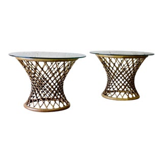 Mid Century Modern Rattan + Glass End Tables For Sale