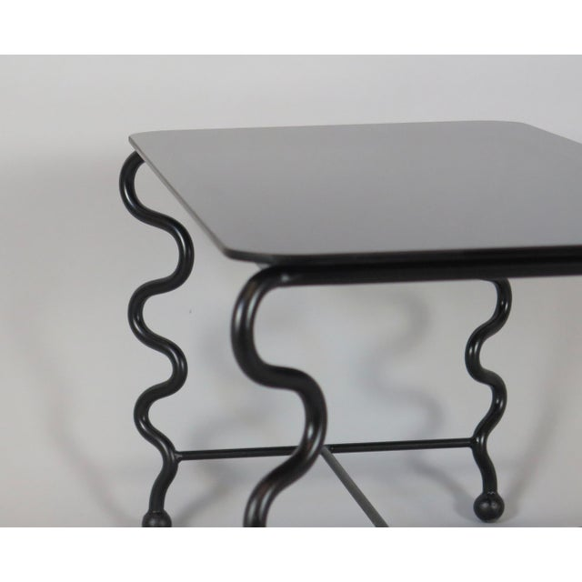 Black 'Serpentine' Coffee Table With Black Glass Top For Sale - Image 8 of 13