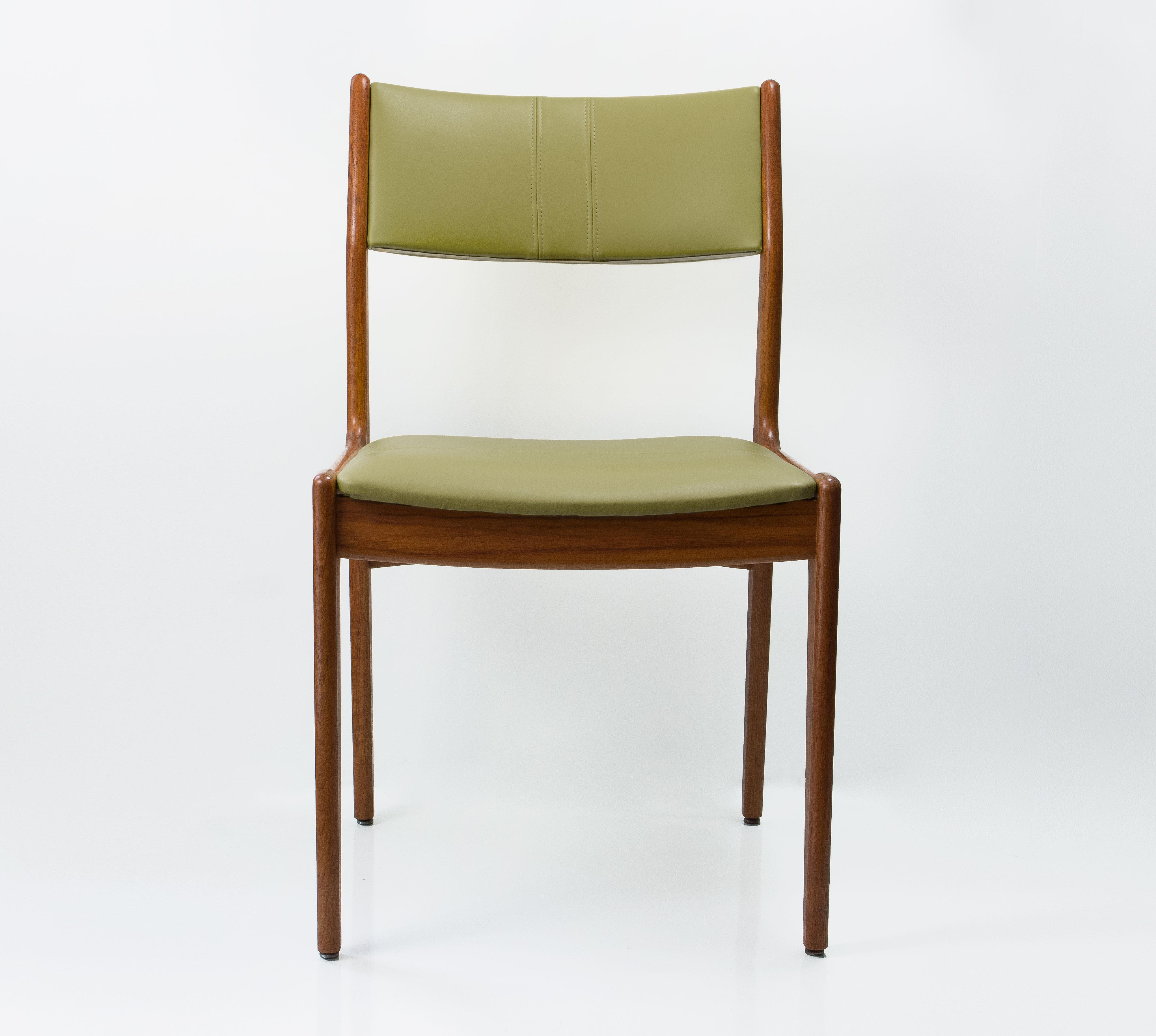 Set Of Mid Century Modern Danish Style Teak Chairs Recently Upholstered In  Genuine Leather.