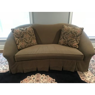 1990s Traditional Vanguard Furniture Green Textile Scalloped Back Couch Preview