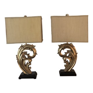 """Contemporary Gold and Silver Leaf """"Wave"""" Lamps With Silk Shades - a Pair For Sale"""