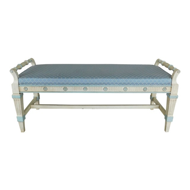 Hickory White Regency Style Paint Decorated Window Accent Bench For Sale