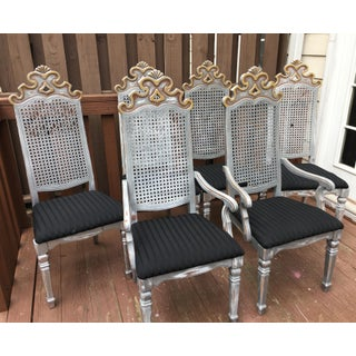 Gilt Gold Silver Painted Gothic Cane Dining Chairs - Set of 6 Preview