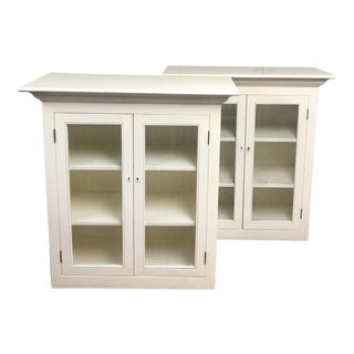Pair of Glass Front Bookcases For Sale