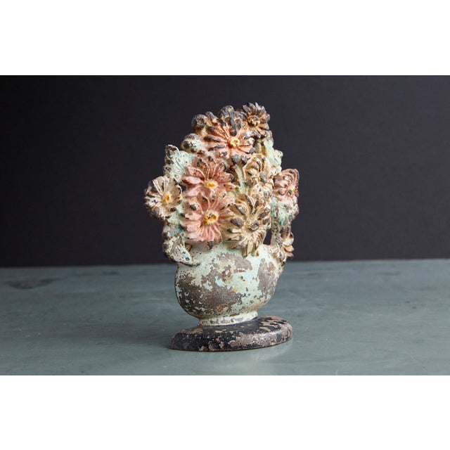19th Century Cast Iron Hand-Painted Polychrome Flower Bouquet in Vase Doorstop For Sale - Image 4 of 7