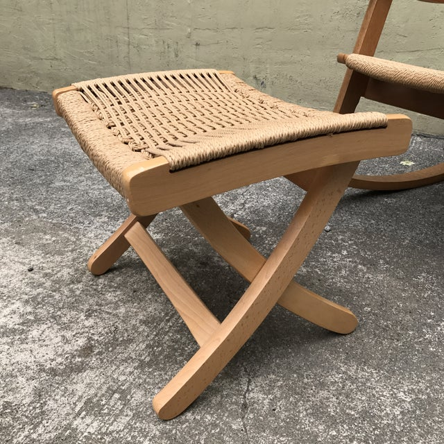 Hans Wegner Style Rocking Chair & Ottoman - A Pair - Image 8 of 11