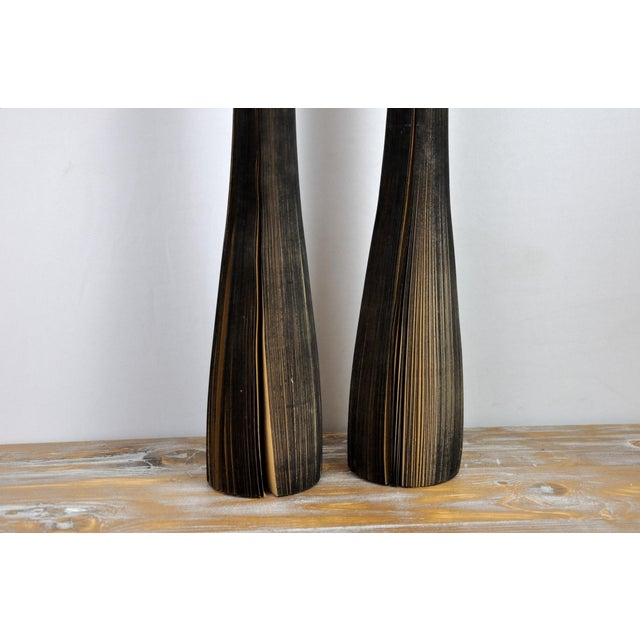 Paper Pair of Reclaimed Craft Paper Designer Minialist Vases Like New For Sale - Image 7 of 13