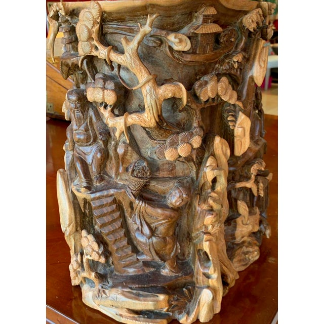 Asian Chinese Immortals Carved Elm Brush Pot For Sale - Image 3 of 11