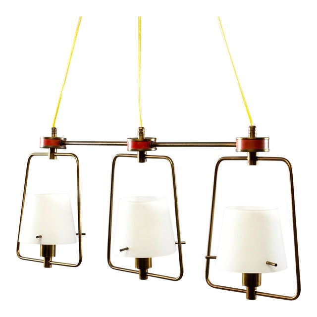 Mid Century Stilnovo Chandelier With Frosted Glass Shades For Sale