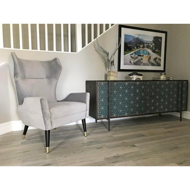 2010s Grey Velvet Italian Modern Style Wingback Chair For Sale - Image 5 of 6