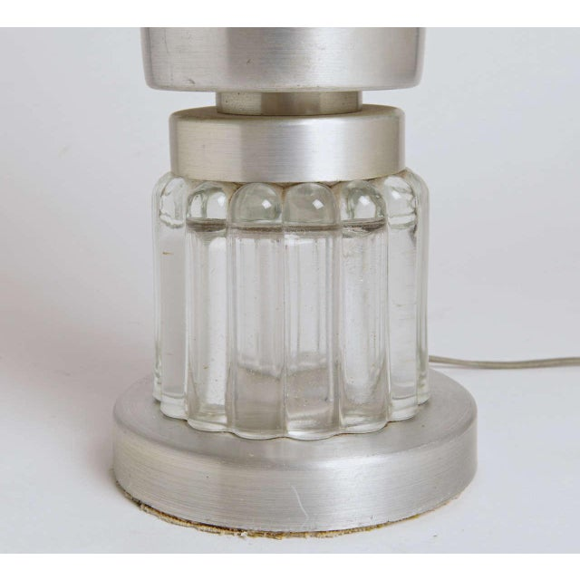 Art Deco Machine Age Russel Wright Style Art Deco Spun Aluminum and Glass Lamp For Sale - Image 3 of 11