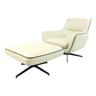 Contemporary White Leather Swivel Jack Chair and Ottoman Set of Two For Sale